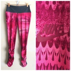 NIKE Girls Shirred Full Leggings Pink Sz Large